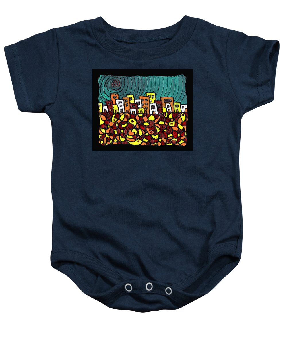 City Baby Onesie featuring the painting Summer In The City by Wayne Potrafka