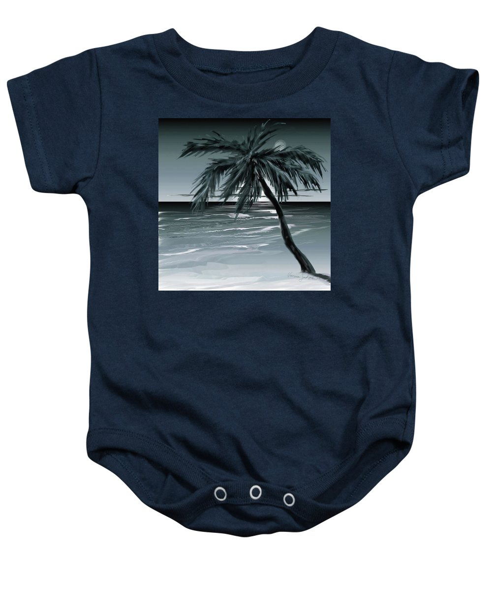 Water Beach Sea Ocean Palm Tree Summer Breeze Moonlight Sky Night Baby Onesie featuring the digital art Summer Night In Florida by Veronica Jackson