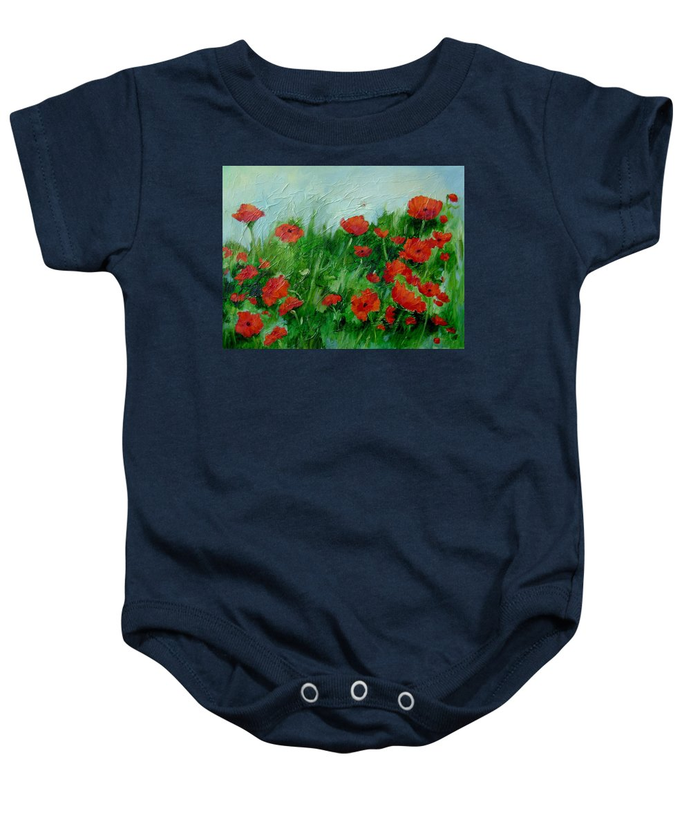 Red Poppies Baby Onesie featuring the painting Summer Poppies by Ginger Concepcion