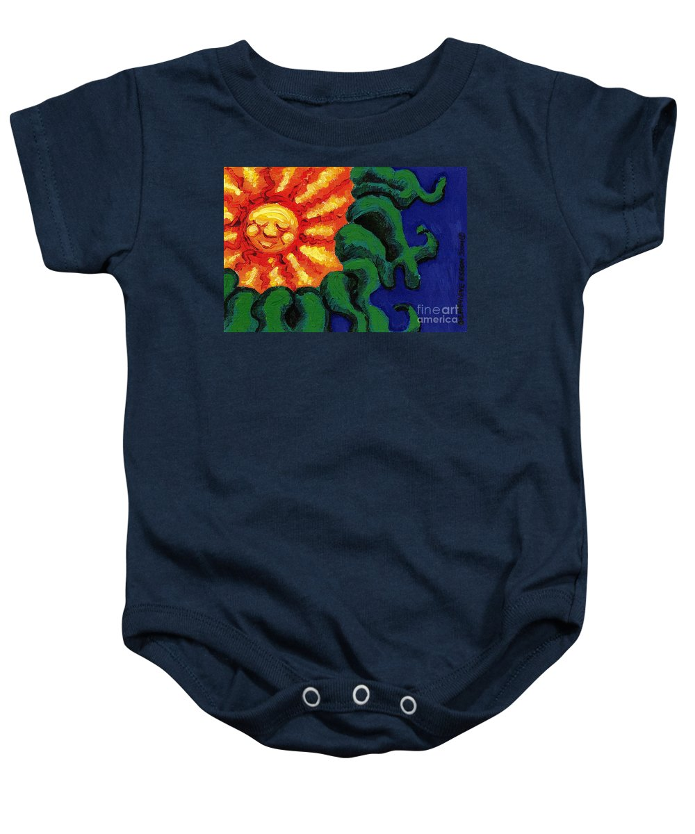 Sun Baby Onesie featuring the painting Sun Baby by Genevieve Esson