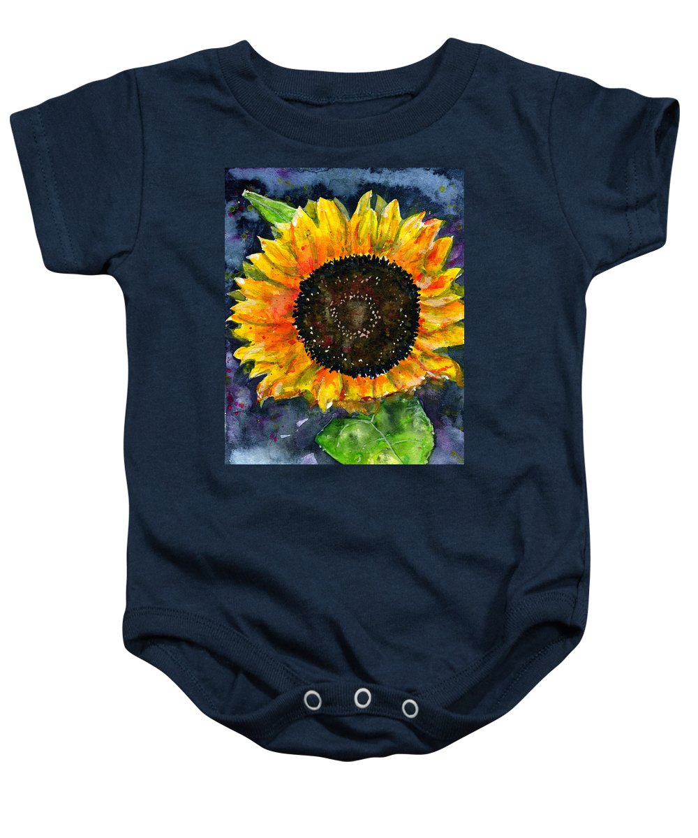 Flower Baby Onesie featuring the painting Sunflower by John D Benson