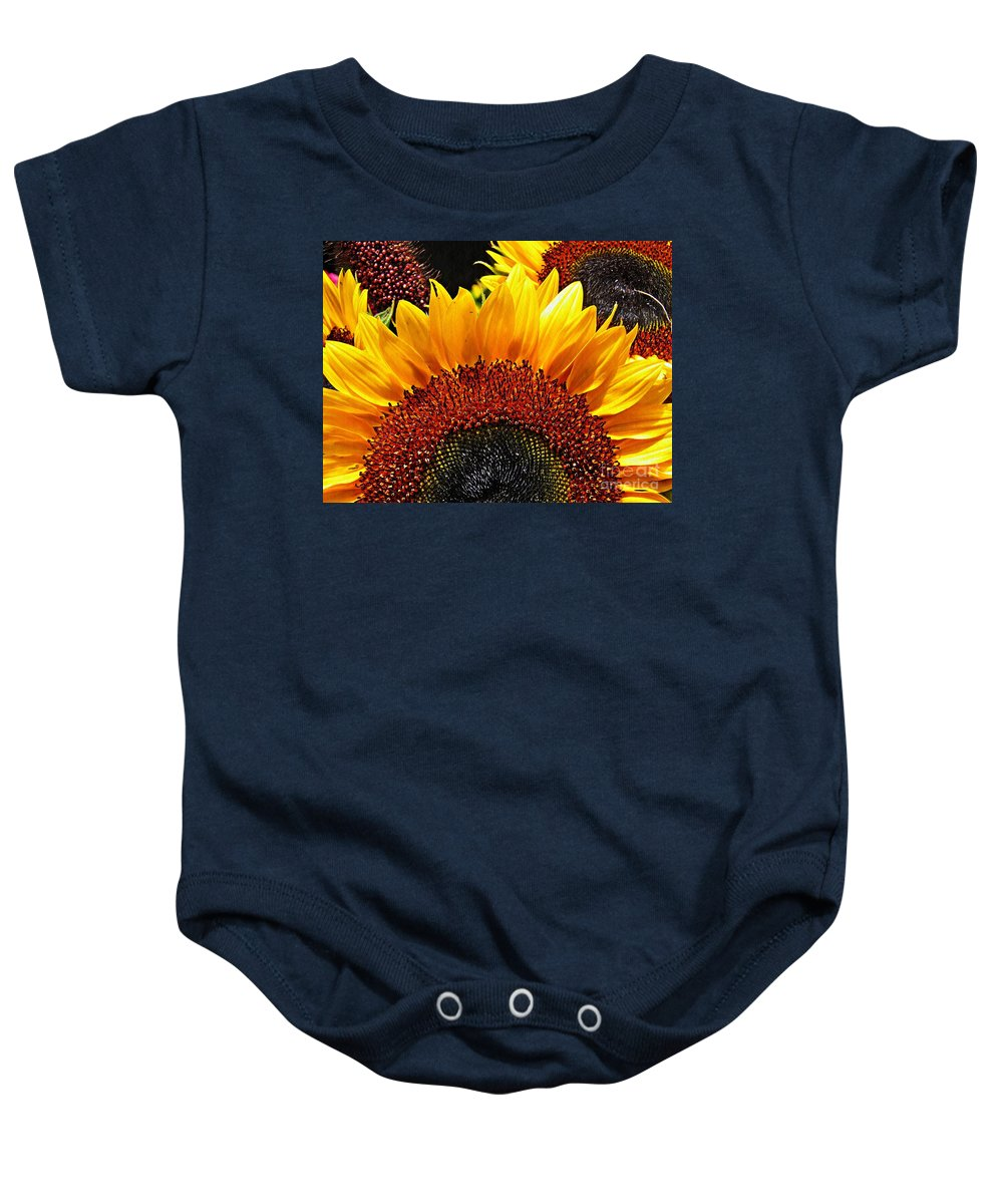 Sunflower Baby Onesie featuring the photograph Sunflower Rise by Sarah Loft