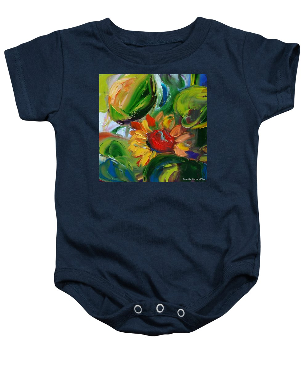 Flowers Baby Onesie featuring the painting Sunflowers 8 by Gina De Gorna