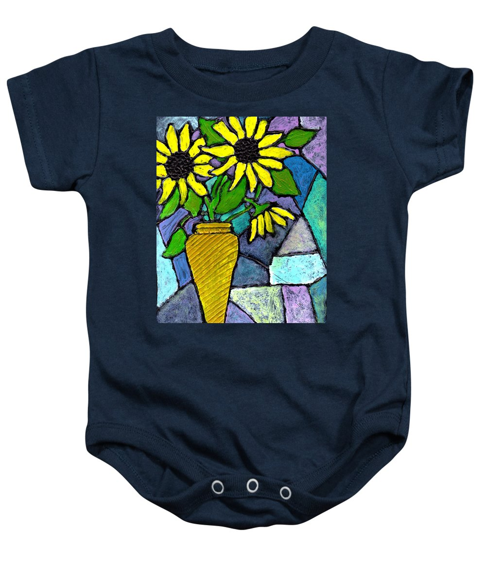Flowers Baby Onesie featuring the painting Sunflowers In A Vase by Wayne Potrafka