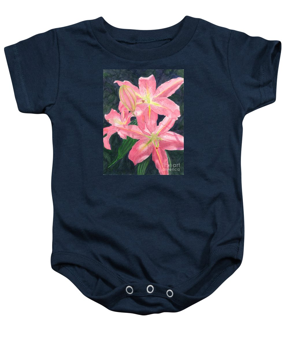 Floral Baby Onesie featuring the painting Sunlit Lilies by Lynn Quinn