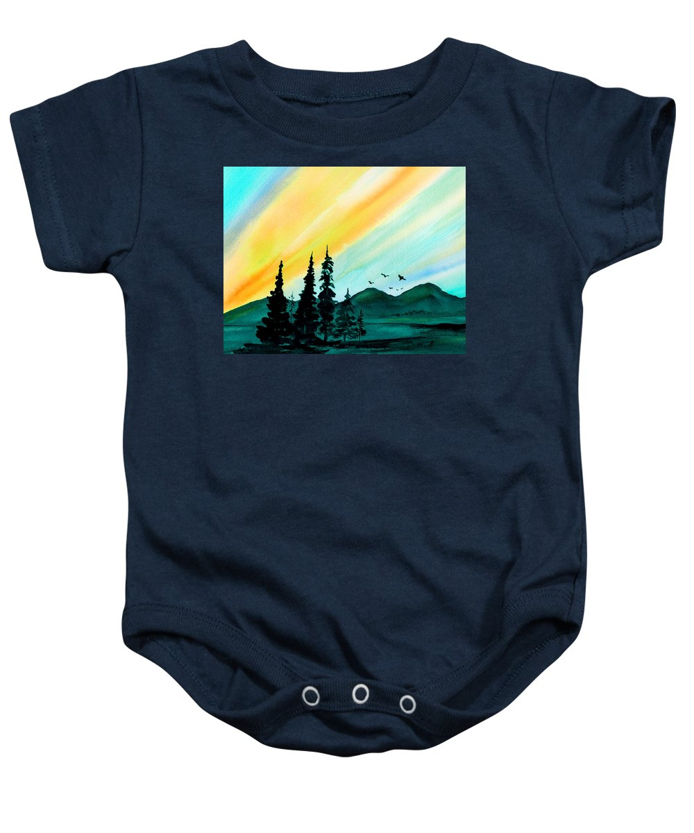 Landscape Baby Onesie featuring the painting Sunrays by Brenda Owen