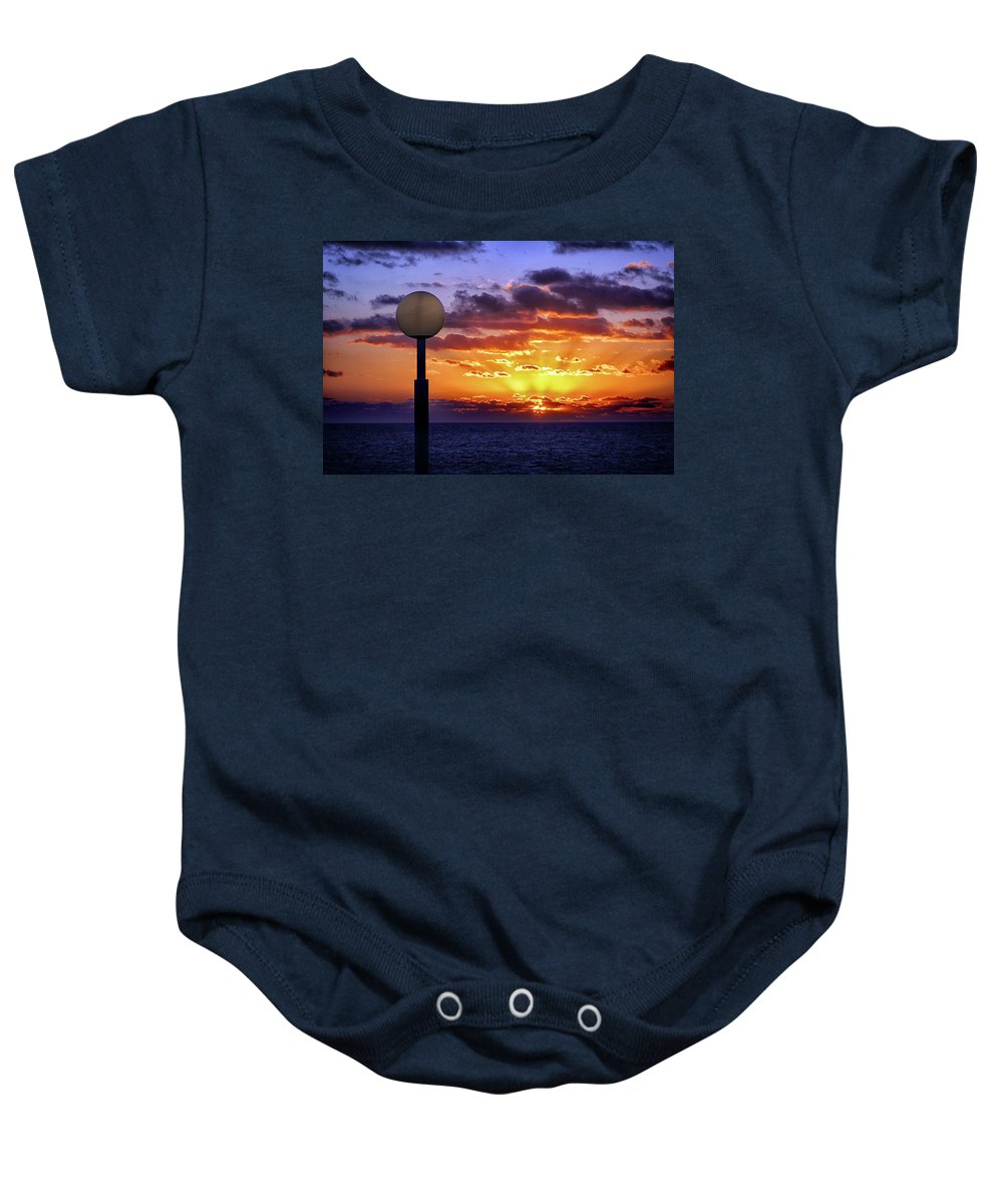 Sunrise At Sea Baby Onesie featuring the photograph Sunrise At Sea Off The Delmarva Coast by Bill Swartwout Fine Art Photography