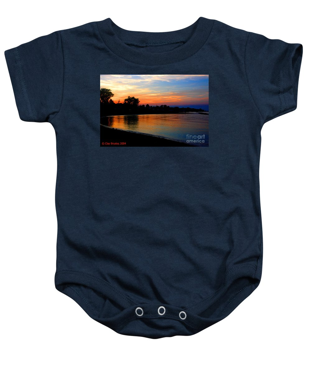 Clay Baby Onesie featuring the photograph Sunset At Colonial Beach Cove by Clayton Bruster