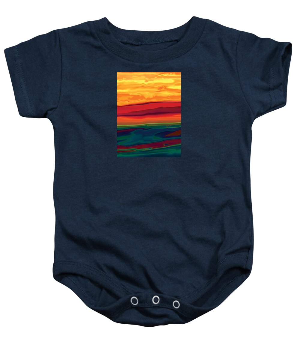 Art Baby Onesie featuring the digital art Sunset In Ottawa Valley 1 by Rabi Khan