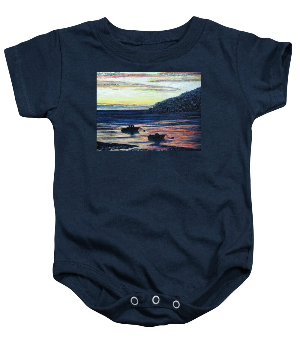 Maine Baby Onesie featuring the painting Sunset On Maine Coast by Richard Nowak