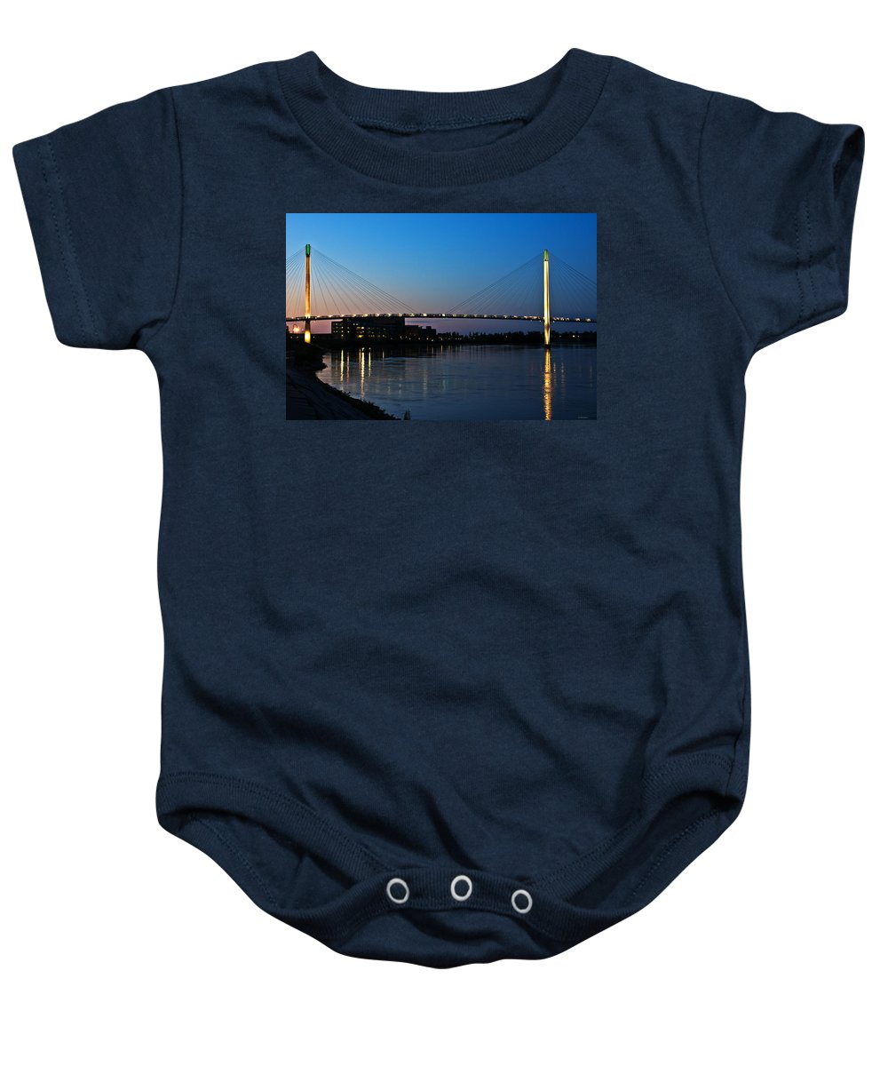 Bob Kerry Pedestrian Bridge Baby Onesie featuring the photograph Sunset On The Bob Kerry Pedestrian Bridge by Edward Peterson