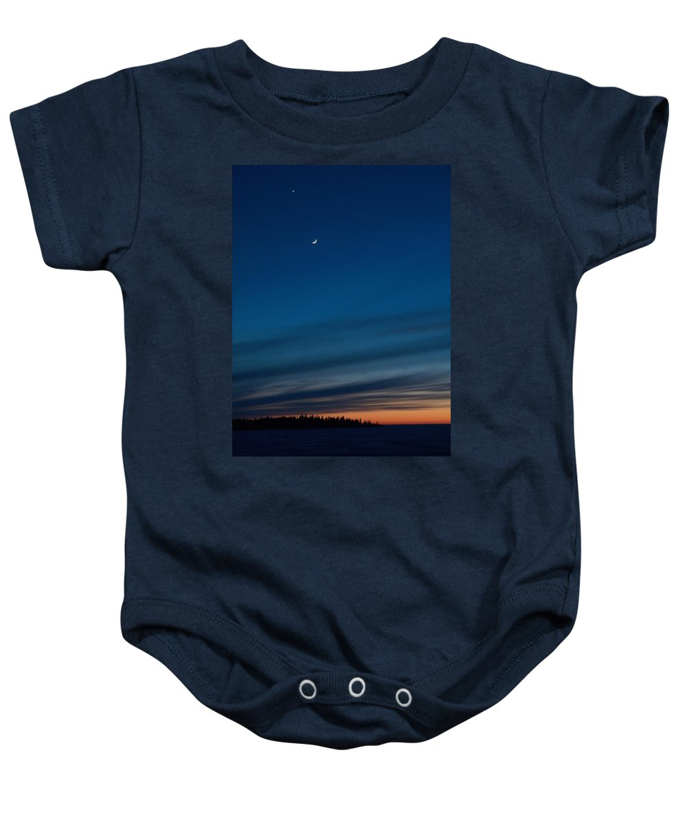 Talvi Baby Onesie featuring the photograph Sunset Over The Gulf Of Bothnia by Jouko Lehto