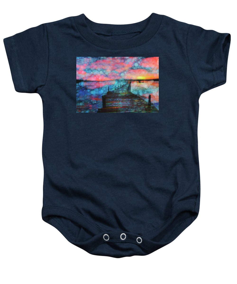 Blue Baby Onesie featuring the painting Sunset View by Jack Zulli