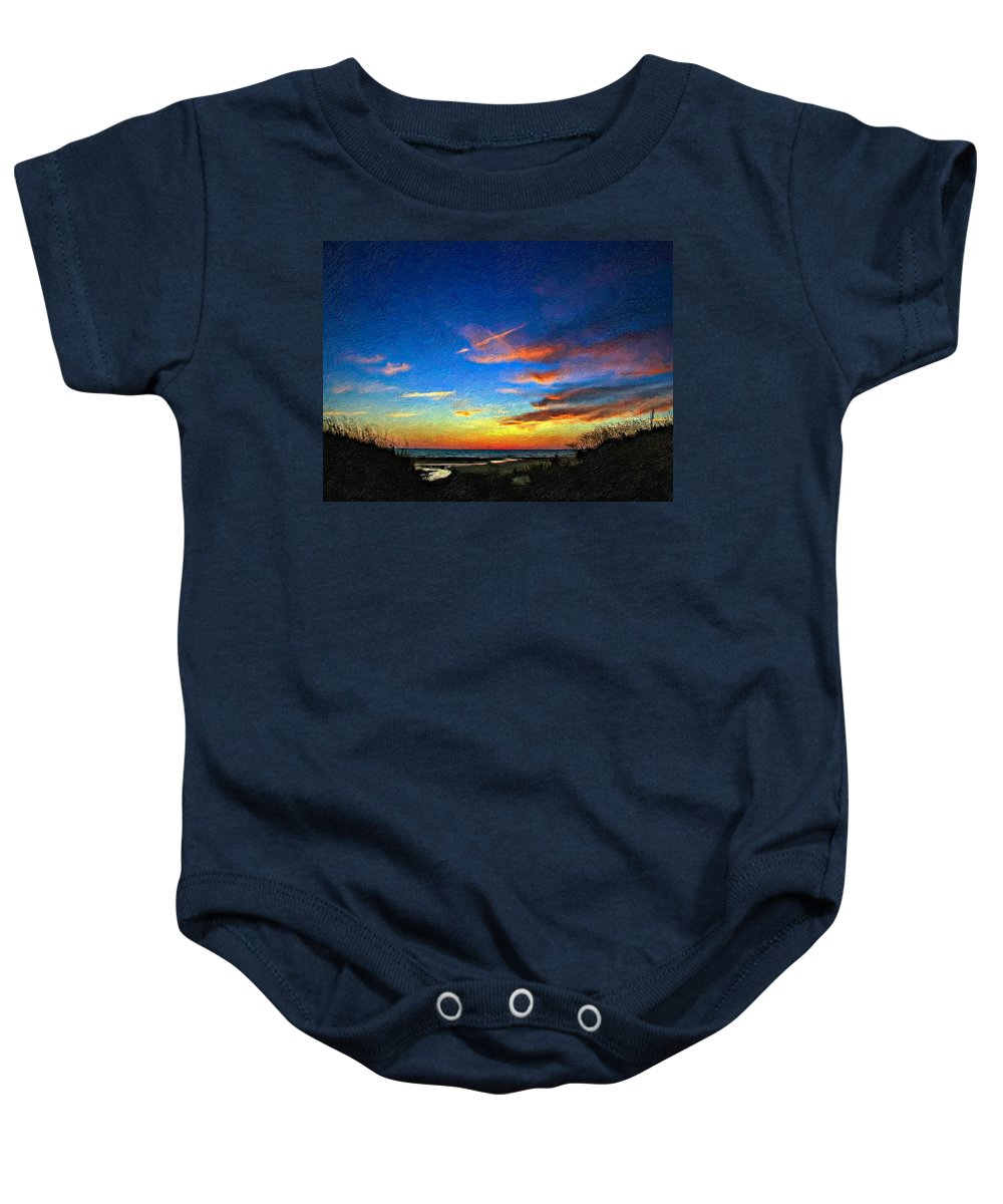 Sauble Beach Baby Onesie featuring the photograph Sunset X Impasto by Steve Harrington