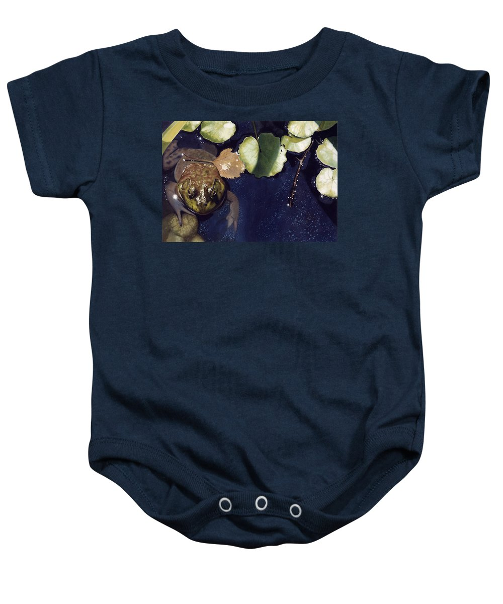 Frog Baby Onesie featuring the painting Sunspots by Denny Bond