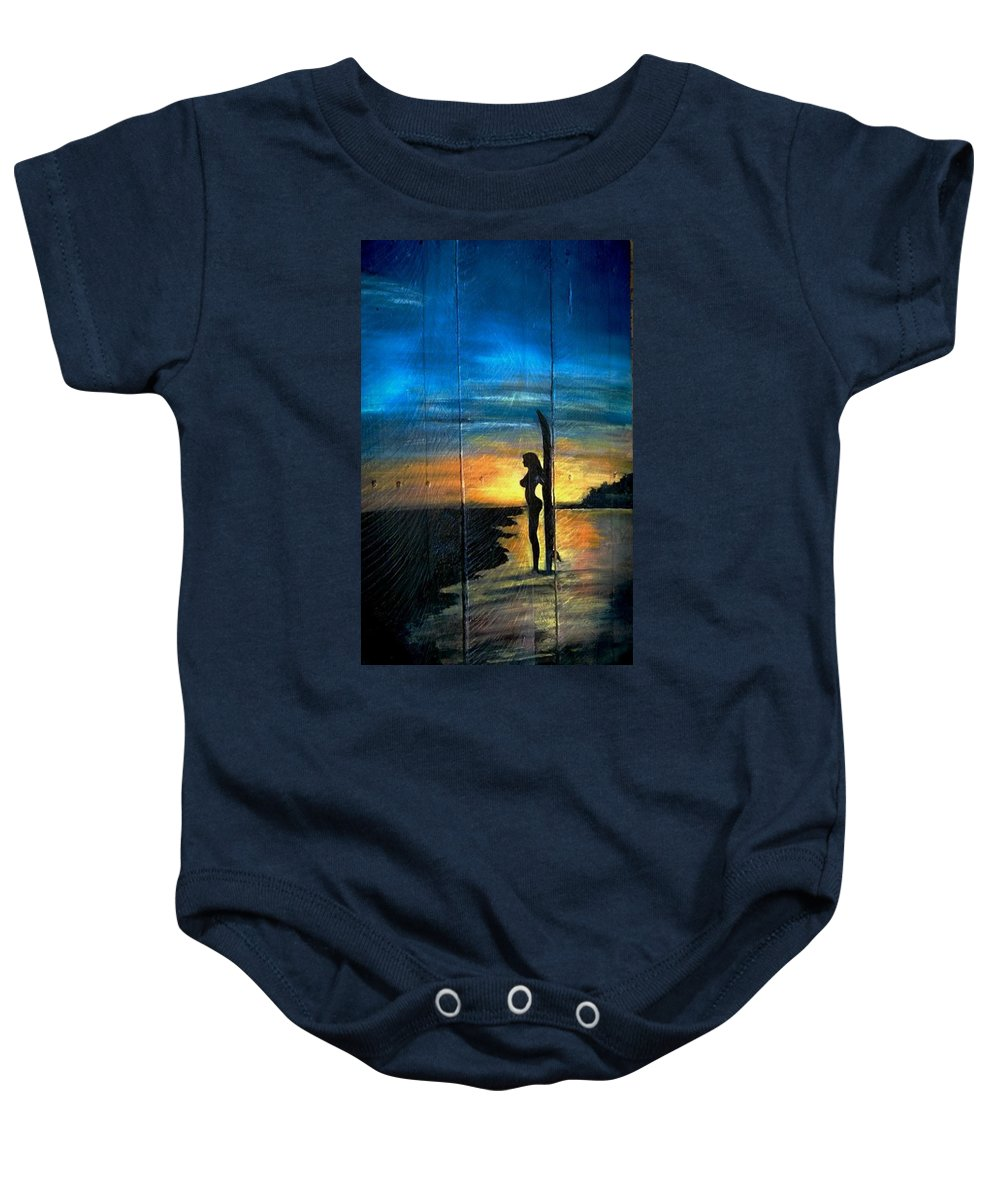 Surfer Baby Onesie featuring the painting Surfer Girl by Ashley Galloway