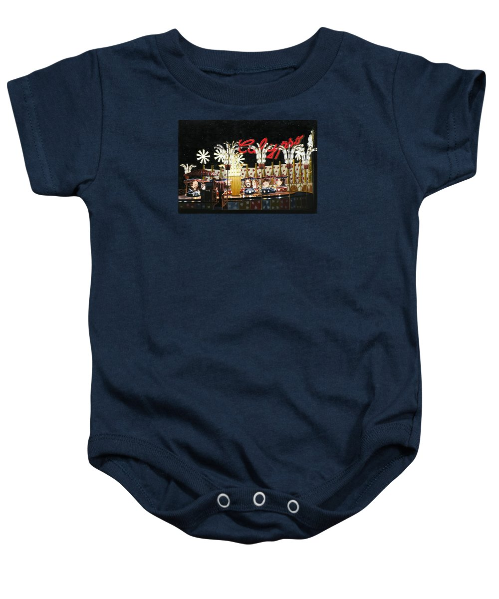 Surreal Baby Onesie featuring the painting Surreal Carnival by Dave Martsolf