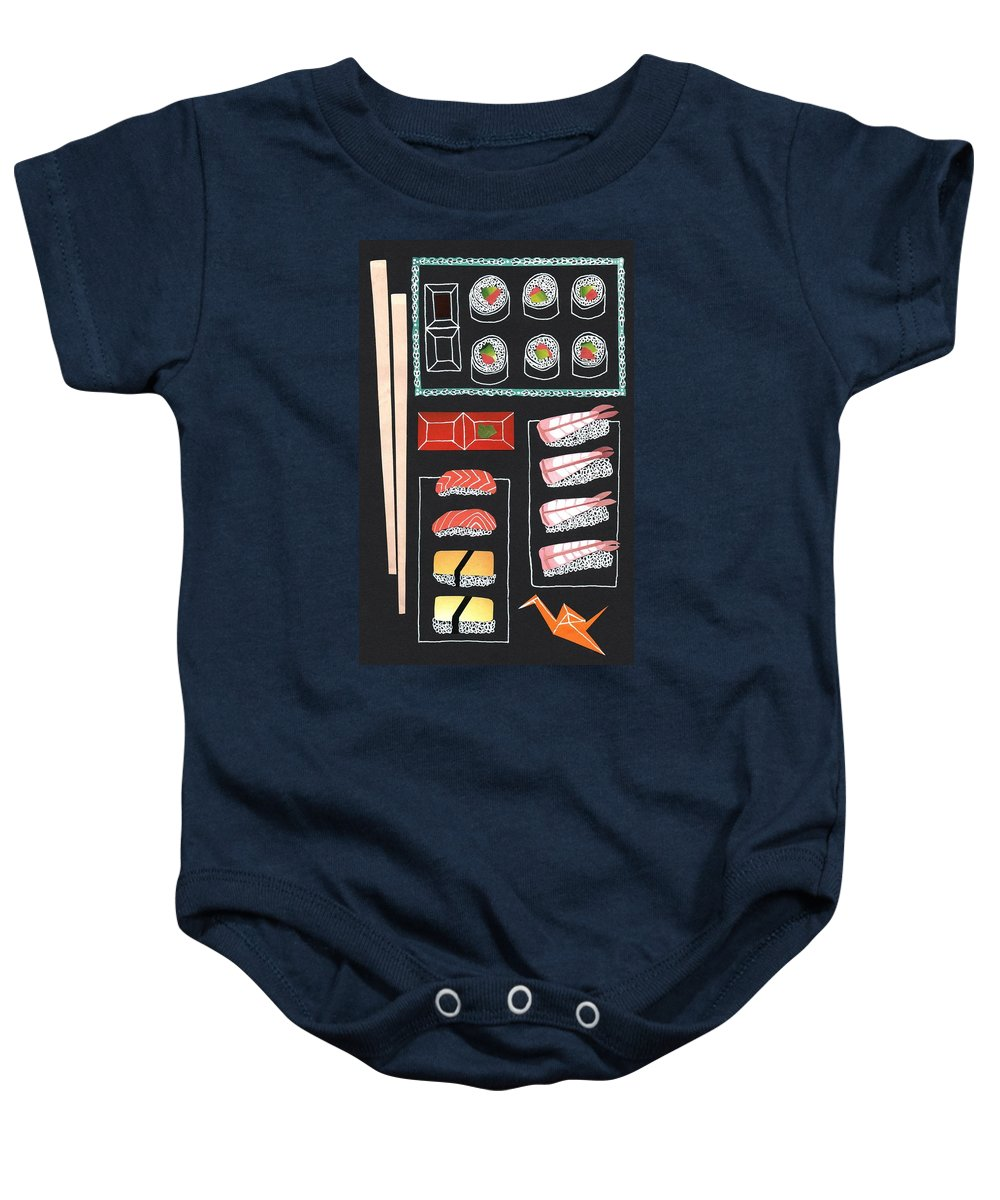 Sushi Baby Onesie featuring the drawing Sushi by Isobel Barber