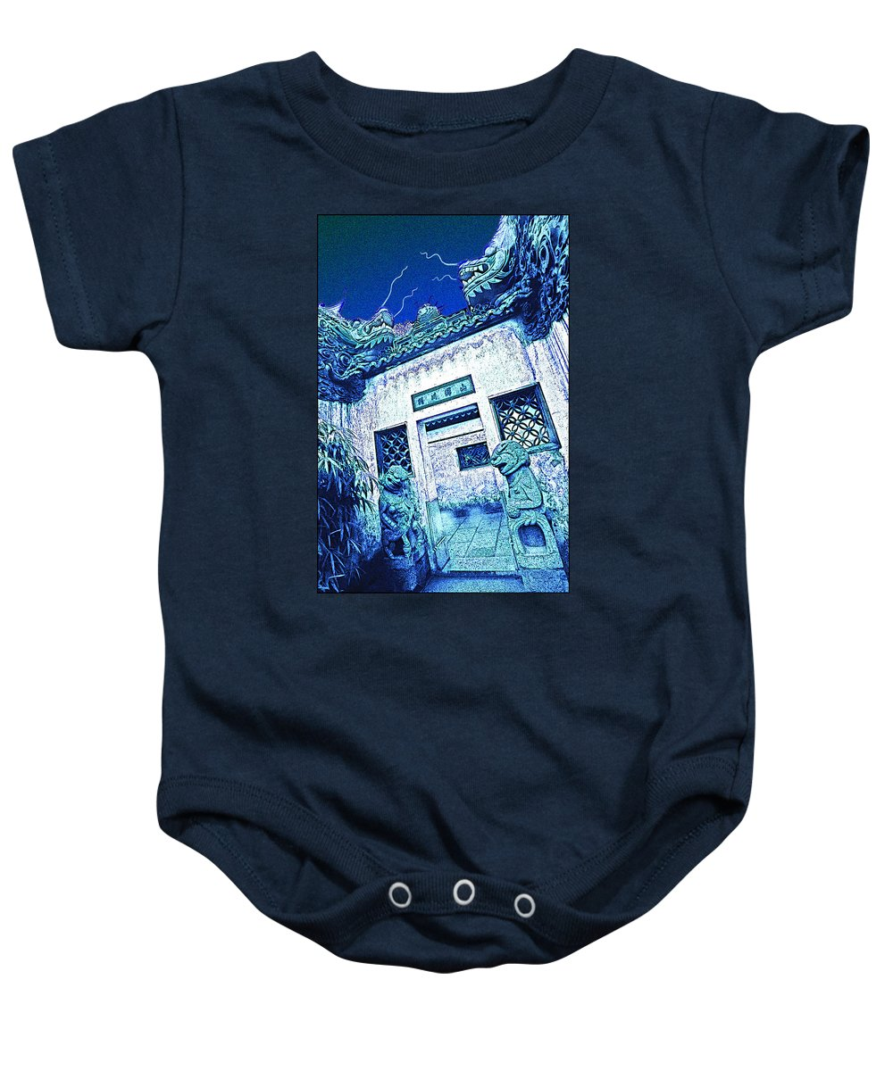 Cityscape Baby Onesie featuring the photograph Suzhou Rooftop by Steven Hlavac