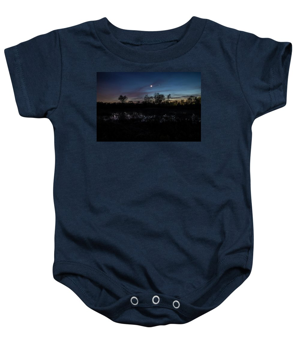 Illinois Baby Onesie featuring the photograph Swamp At Dusk With Moon by Sven Brogren