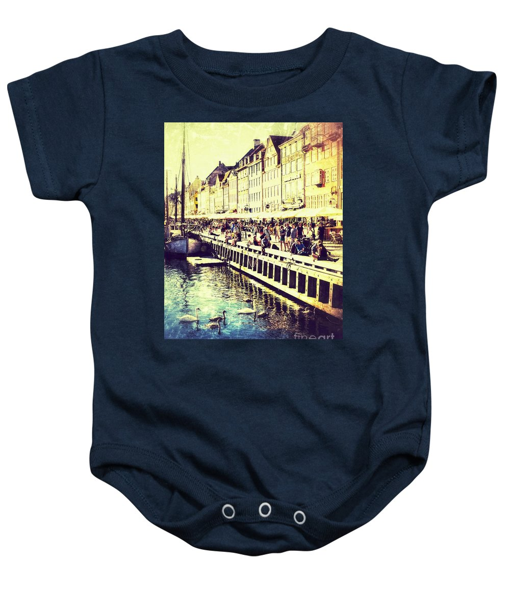 Baltic Sea Baby Onesie featuring the photograph Swans In Nyhavn by Lasse Ansaharju