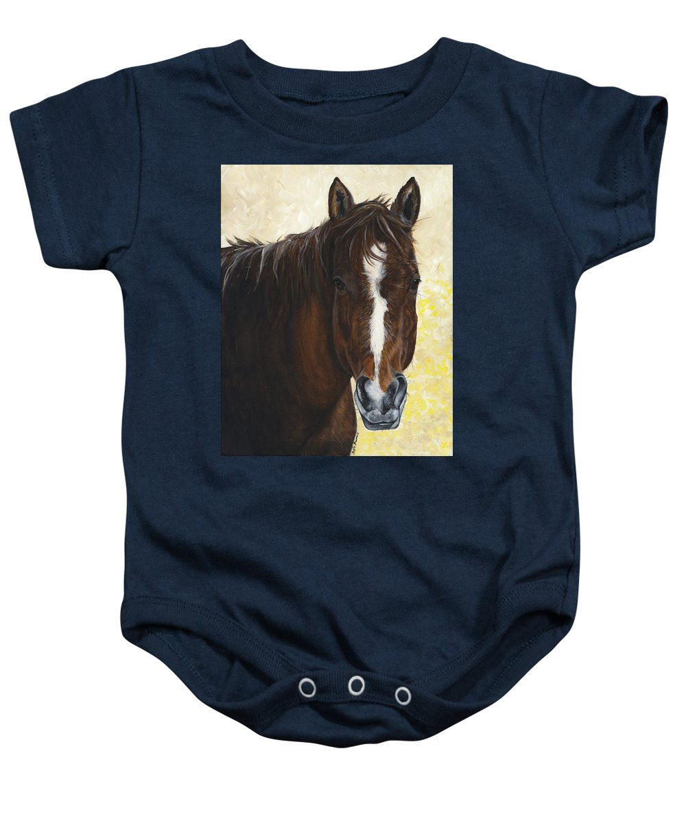 Horse Baby Onesie featuring the painting Tara by Twyla Francois