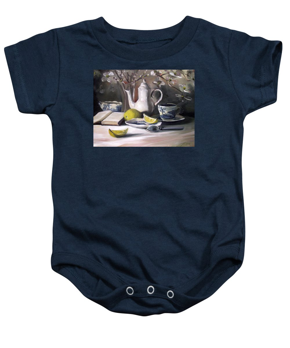 Tea Baby Onesie featuring the painting Tea with Lemon by Nancy Griswold