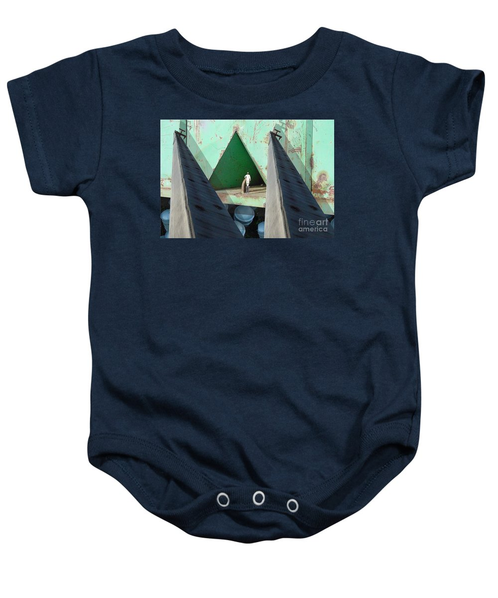 Abstract Baby Onesie featuring the digital art Temple by Ron Bissett