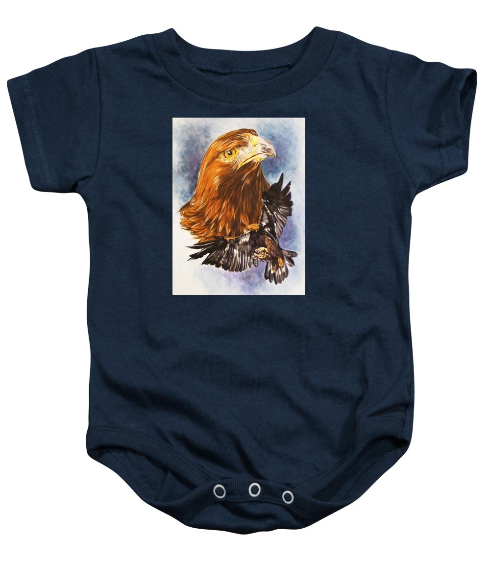Eagle Baby Onesie featuring the mixed media Tenacity by Barbara Keith