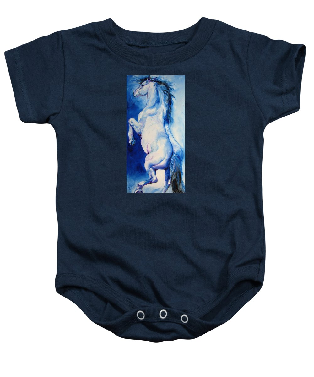 Horse Baby Onesie featuring the painting The Blue Roan by Marcia Baldwin