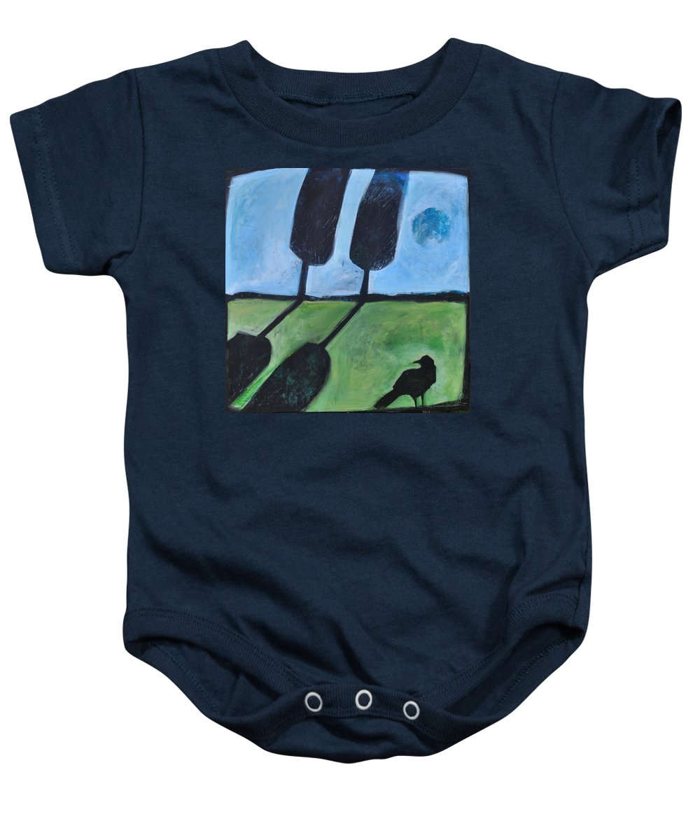 Bird Baby Onesie featuring the painting The Casual Observer by Tim Nyberg