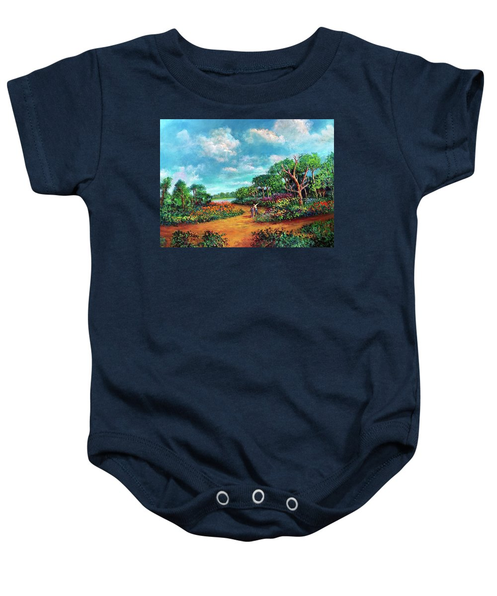 Fathers Day Baby Onesie featuring the painting The Cycle Of Life by Randy Burns