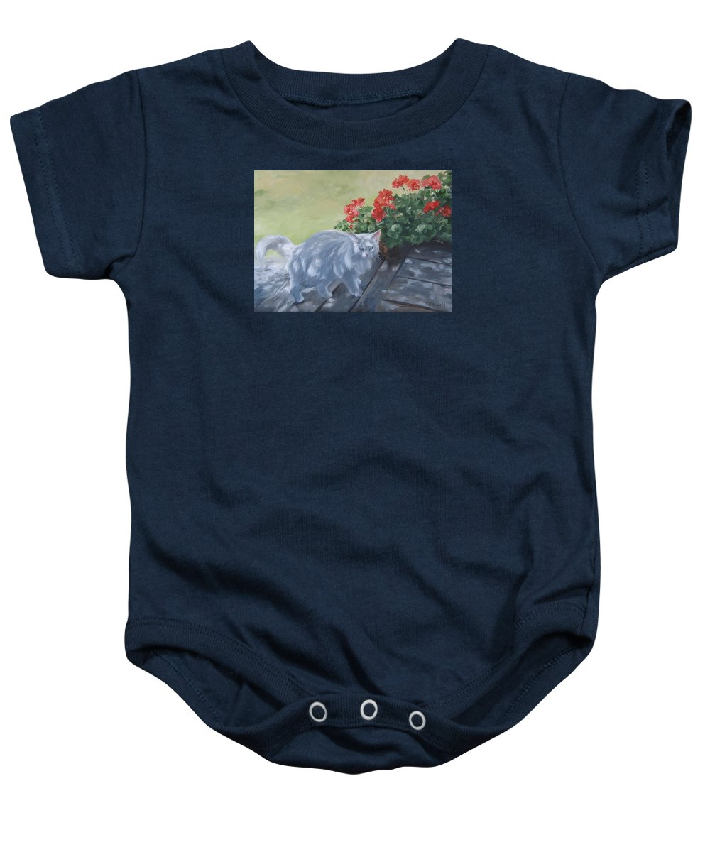 Cat Baby Onesie featuring the painting A Feral Cloud by Connie Schaertl