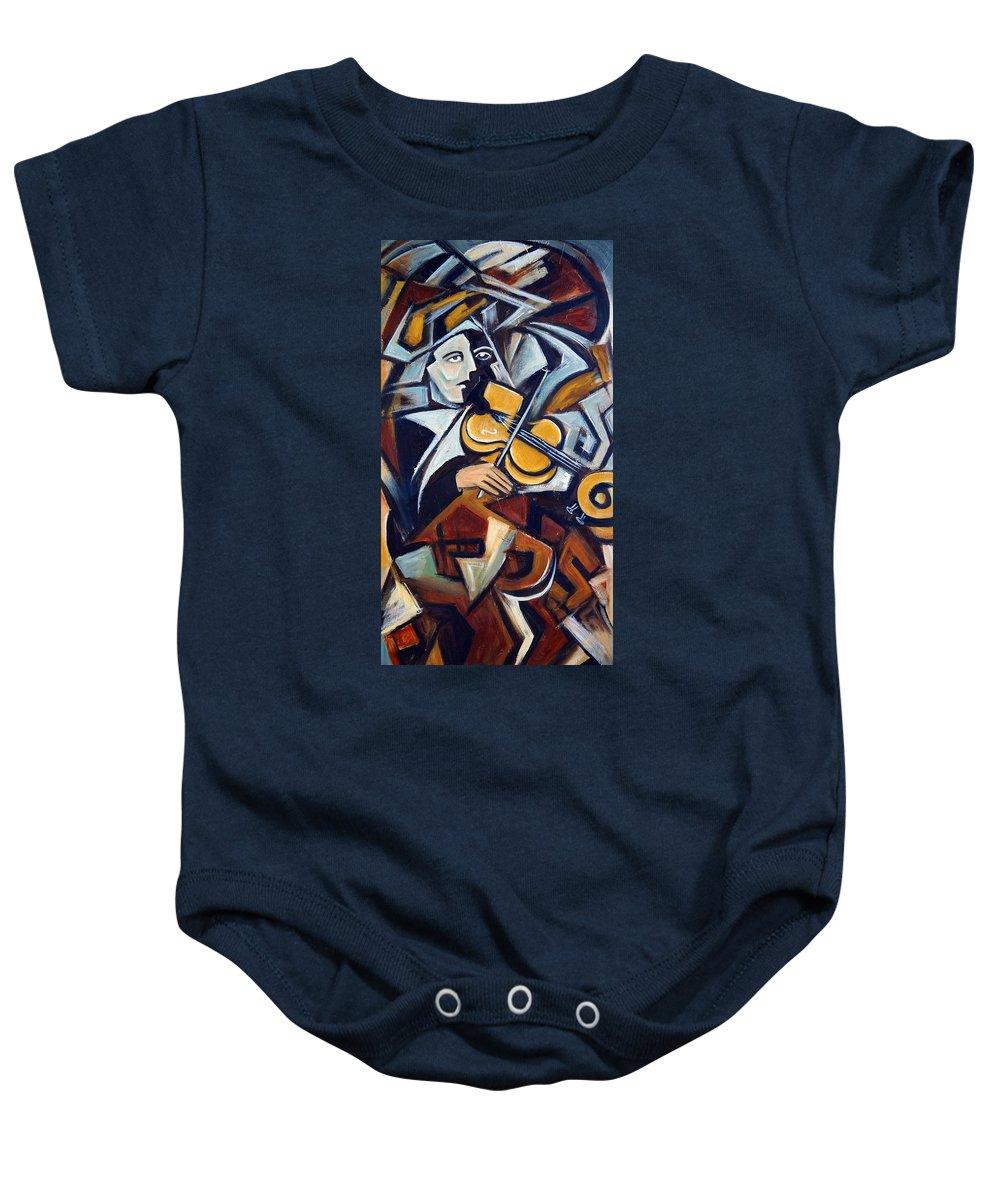 Musician Baby Onesie featuring the painting The Fiddler by Valerie Vescovi