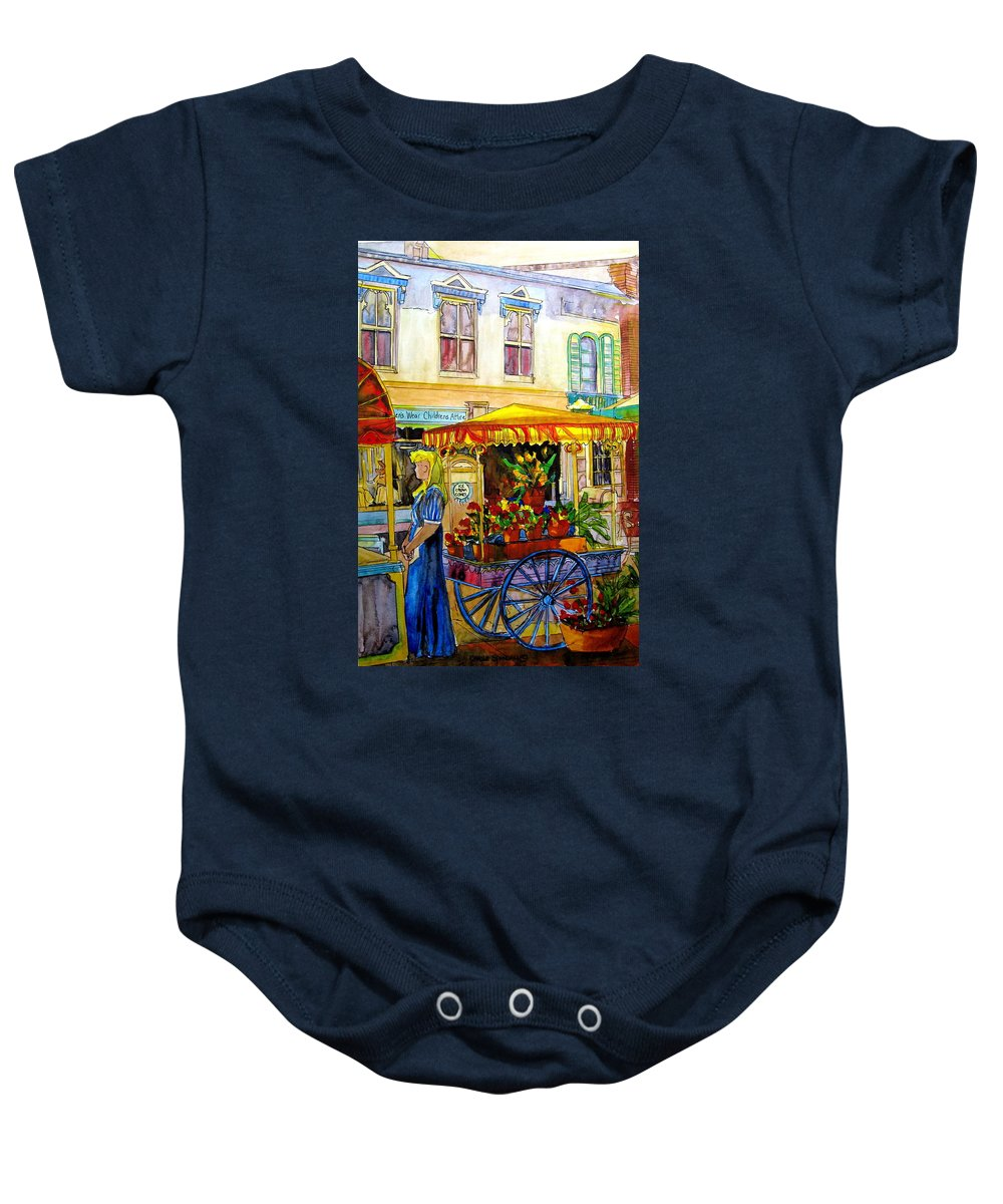 The Flowercart Baby Onesie featuring the painting The Flowercart by Carole Spandau
