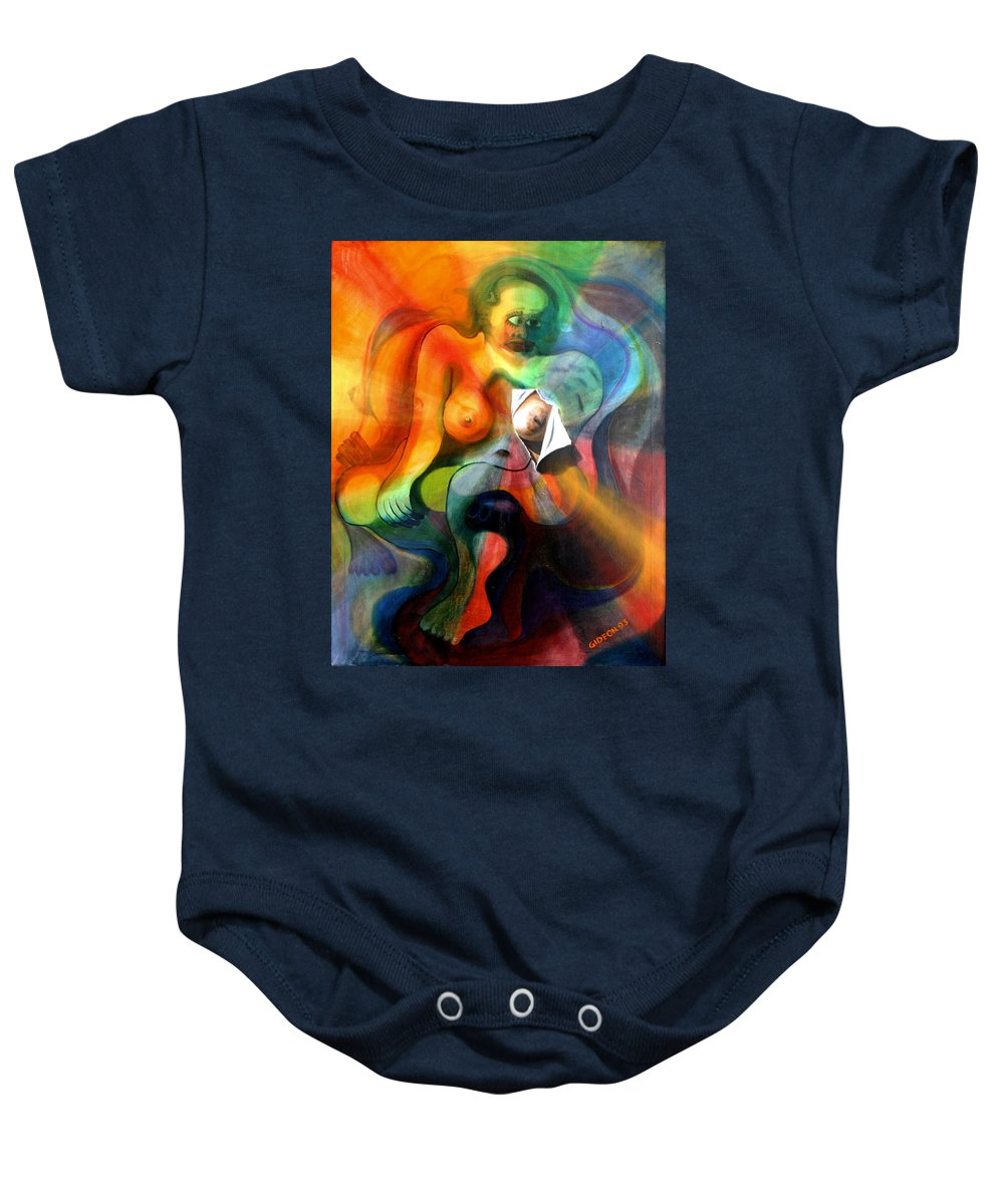 Drawing Baby Onesie featuring the painting The Frustration Of The Torn Canvas by Gideon Cohn