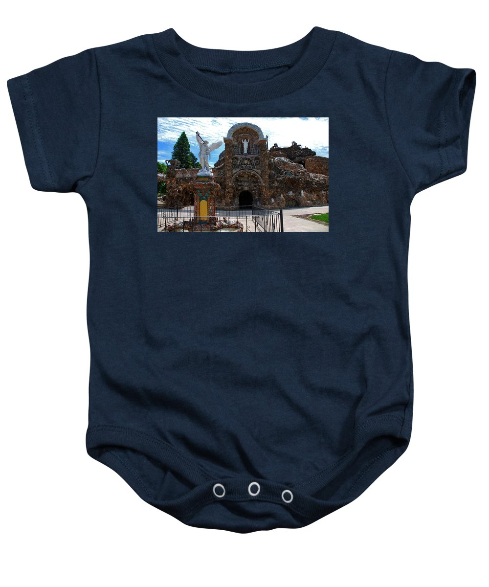 Entrance To The Grotto Of Redemption Baby Onesie featuring the photograph The Grotto Of Redemption In Iowa by Susanne Van Hulst
