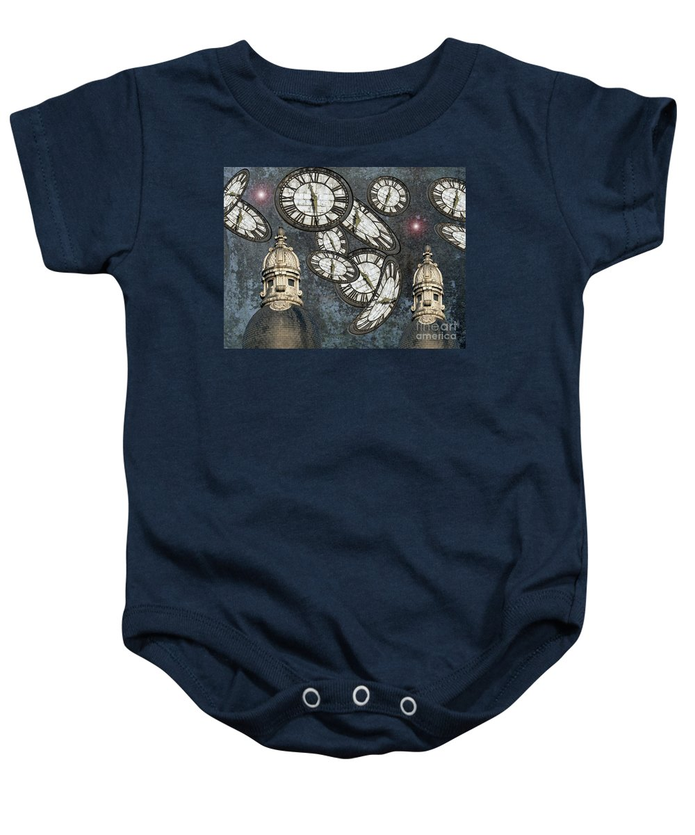 Time Baby Onesie featuring the photograph The Guardians Of The Time Stopped by Neko92vl