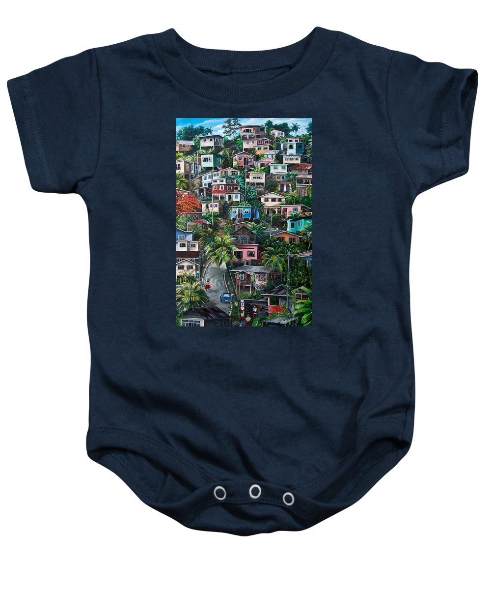 Landscape Painting Cityscape Painting Houses Painting Hill Painting Lavantille Port Of Spain Painting Trinidad And Tobago Painting Caribbean Painting Tropical Painting Caribbean Painting Original Painting Greeting Card Painting Baby Onesie featuring the painting The Hill   Trinidad by Karin Dawn Kelshall- Best
