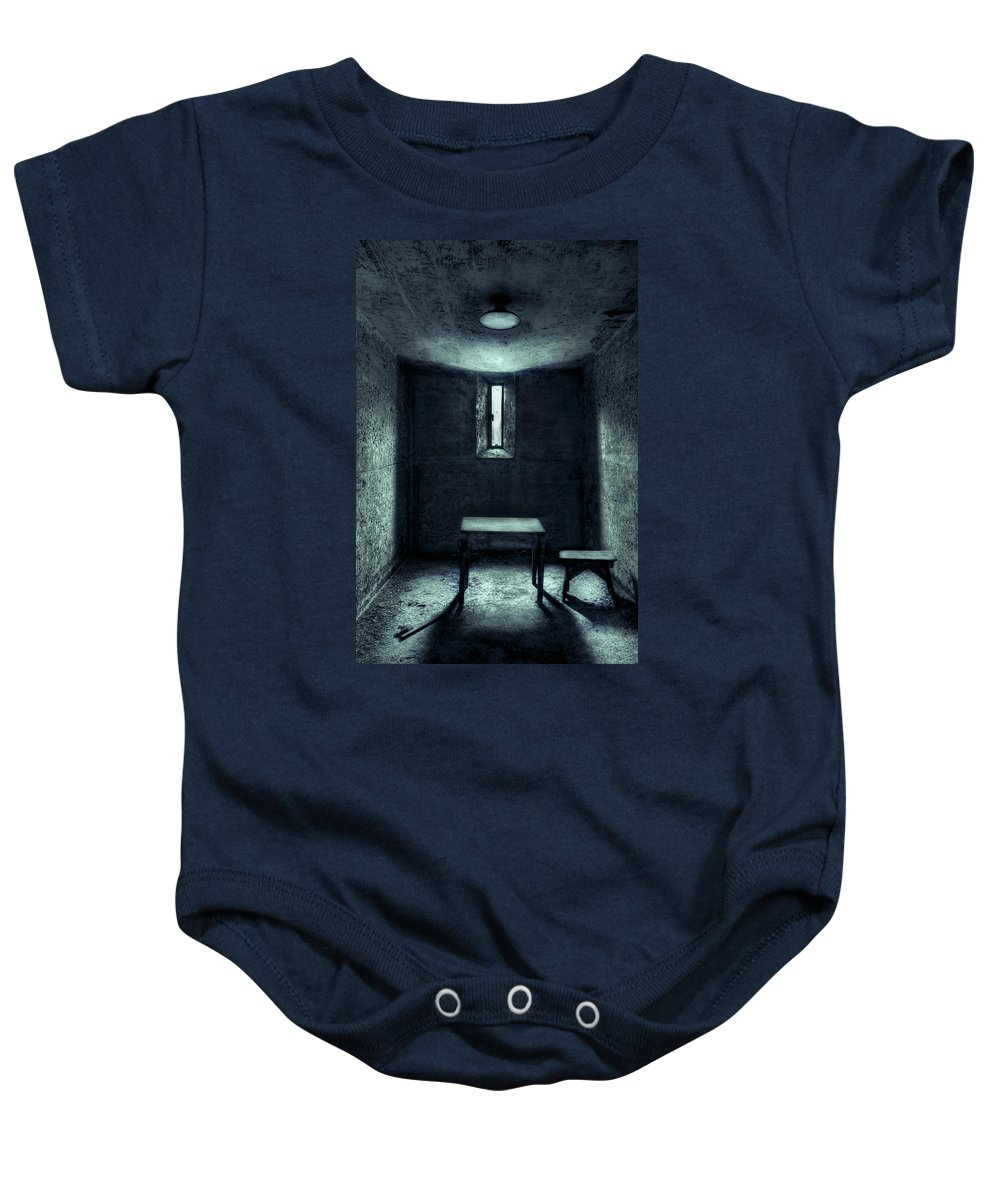 Cell Baby Onesie featuring the photograph The House Of A Locked Mind by Evelina Kremsdorf