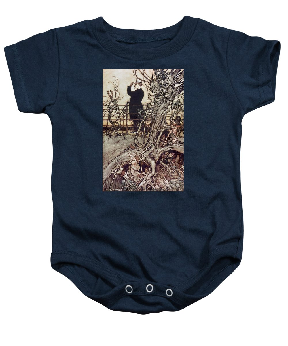 Arthur Rackham Baby Onesie featuring the drawing The Kensington Gardens Are In London Where The King Lives by Arthur Rackham