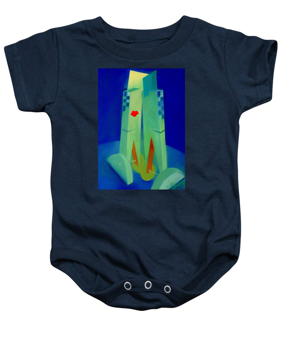 Blue Baby Onesie featuring the painting The Kiss by Charles Stuart