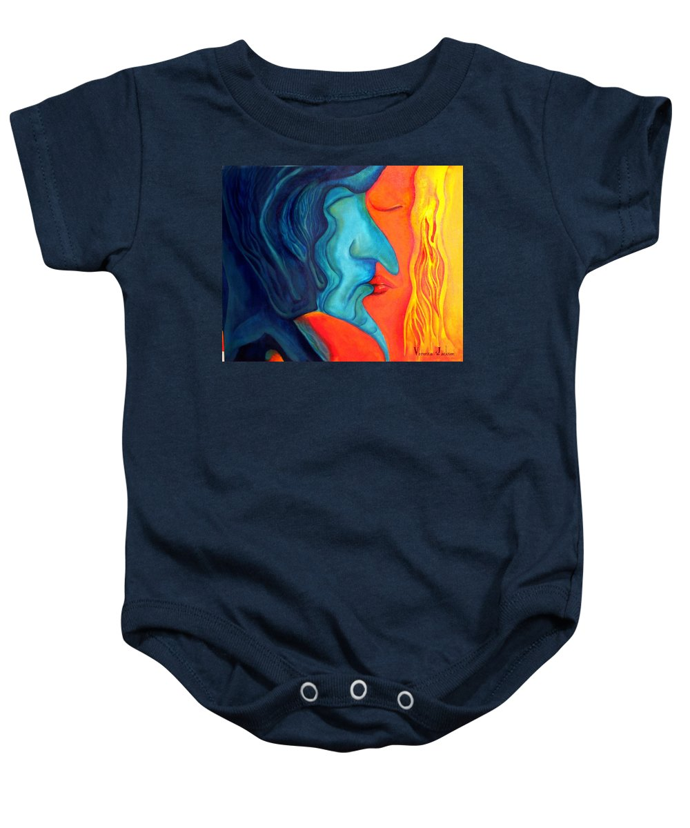 Kiss Love Passion Couple Intensity Blue Orange Fire Lust Sex Baby Onesie featuring the painting The Kiss by Veronica Jackson