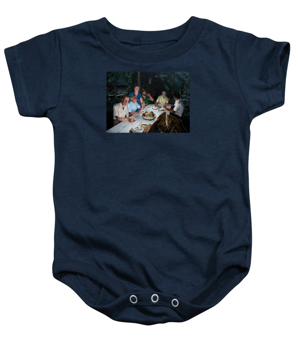 Last Supper Baby Onesie featuring the painting The Last Supper by Dave Martsolf