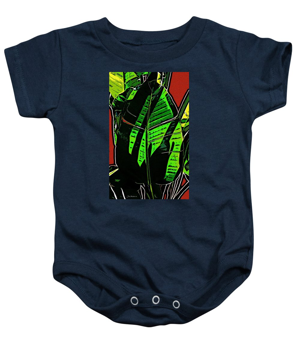 Leaf Baby Onesie featuring the digital art The Leaf by Joan Minchak