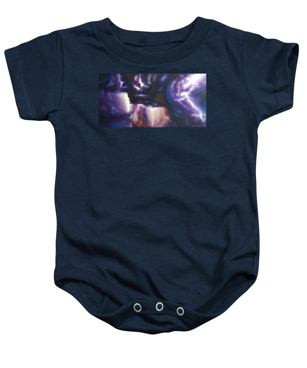 Tempest Baby Onesie featuring the painting The Lightning by James Christopher Hill