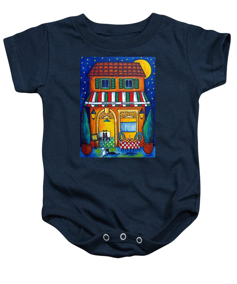 Blue Baby Onesie featuring the painting The Little Trattoria by Lisa Lorenz