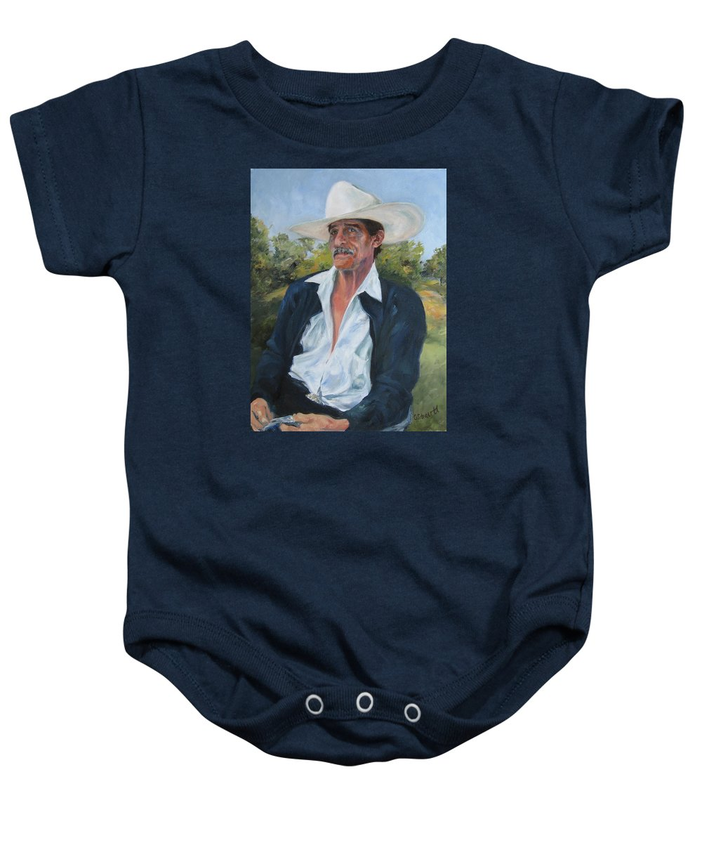 Portrait Baby Onesie featuring the painting The Man From The Valley by Connie Schaertl