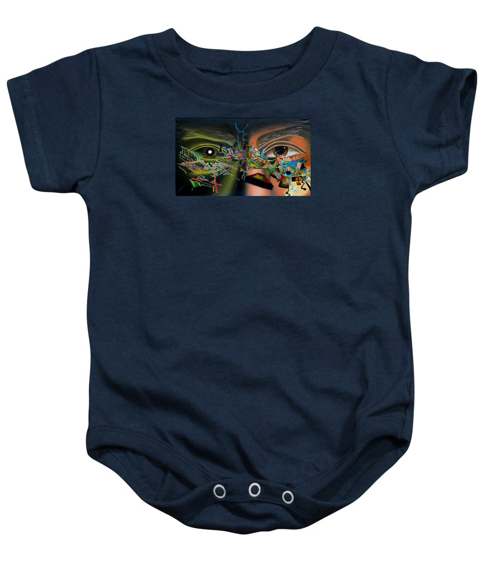Surreal Baby Onesie featuring the painting The Surreal Bridge by Dave Martsolf