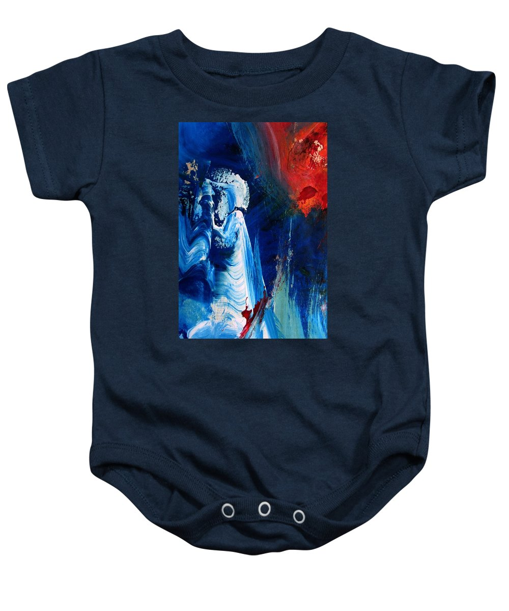 Red Baby Onesie featuring the painting The Sweeper by Melody Horton Karandjeff